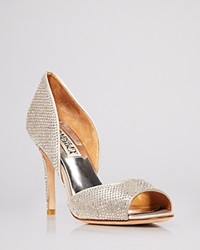 Badgley Mischka Open Toe D'orsay Evening Pumps Mitsey Rhinestone Stud High Heel Silver