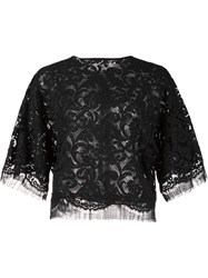 Adam By Adam Lippes Lace Dolman Sleeve Blouse Black