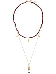 Iosselliani Puro Satyr Red Agate Double Necklace Gold Plated Sterling Silver Metallic