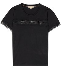 Burberry Marnel Lace Trimmed T Shirt Black