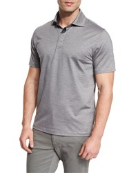 Ermenegildo Zegna Stretch Cotton Polo Shirt Grey Navy Navy Grey