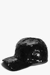 Boohoo Sequin Baseball Cap Black