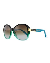Jimmy Choo Alana Colorblock Round Butterfly Sunglasses Petrol Green Blue