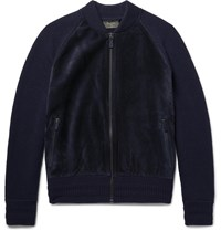 Berluti Suede Panelled Wool And Cashmere Blend Bomber Jacket Blue