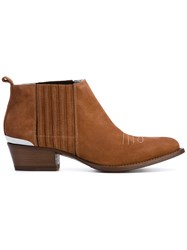 Buttero Stripe Detail Boots Women Leather Suede 36 Brown