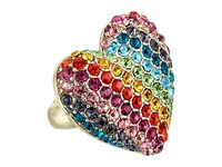Betsey Johnson Pave Rainbow Heart Stretch Ring Multi Ring