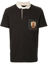 Kent And Curwen Crest Patch Polo Shirt Black
