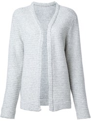 The Elder Statesman 'Effa' Indent Simple Cardigan White