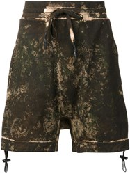 11 By Boris Bidjan Saberi Drop Crotch Sweatshorts Green