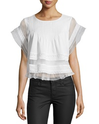J.O.A. Joa Ruffled Cap Sleeve Blouse White