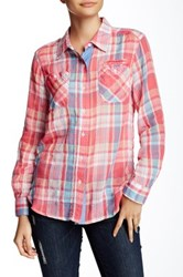 Sandra Ingrish Roll Sleeve Plaid Shirt Petite Multi