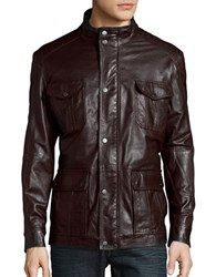 Bugatti Leather Utility Jacket Brown