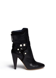 Isabel Marant 'Redford' Harness Leather Combo Ankle Boots Black