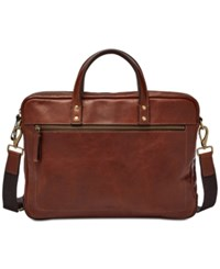 Fossil Men's Haskell Leather Briefcase Rustcopper