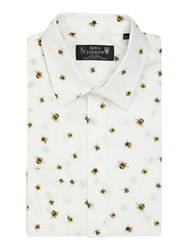 New And Lingwood Tares Bumble Bee Print Shirt White