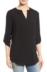 Pleione Petite Women's Split Neck Mixed Media Tunic Black