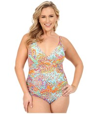 Lauren Ralph Lauren Plus Size Maharaja Paisley Shirred Surplice Underwire Mio Slimming Fit W Removable Cup Coral Women's Swimsuits One Piece