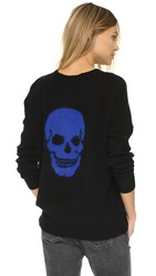 360 Sweater Bronx Skull Sweater Black With Lapis Mohair
