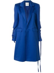 Each X Other Long Lace Up Detail Coat Blue