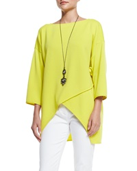 St. John Milano Knit Crossover Front Top Absinthe
