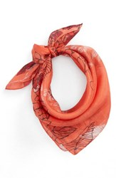 Sole Society Floral Print Silk Neck Scarf Coral
