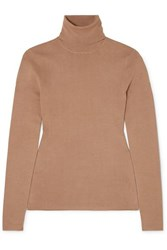 Joseph Silk Blend Turtleneck Sweater Camel