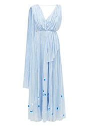 Vika Gazinskaya Painted Gathered Cotton Voile Maxi Dress Blue Print