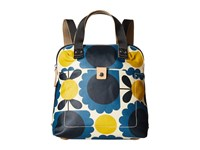 Orla Kiely Matt Laminated Scallop Flower Small Backpack Tote Denim Backpack Bags Blue