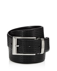Canali Reversible Braided Leather Belt Black