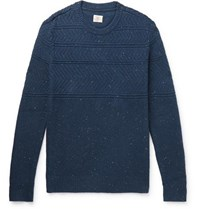 Faherty Guernsey Textured Knit Cotton Blend Sweater Navy