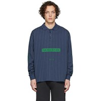 Han Kjobenhavn Blue Pinstripe Long Sleeve Polo