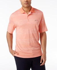 Greg Norman For Tasso Elba Men's Heathered Striped Performance Sun Protection Golf Polo Coral Crush Opd