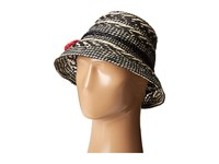 Kate Spade Basket Weave Flat Top Cloche Black Traditional Hats