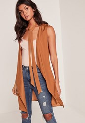 Missguided Nude Waterfall Tie Neck Sleeveless Waistcoat Orange
