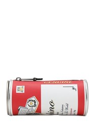 Moschino Capsule Theme Printed Leather Clutch Multicolor