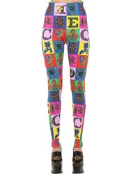 Versace Printed Lycra Leggings Multicolor