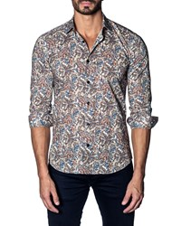 Jared Lang Modern Fit Paisley Long Sleeve Shirt Beige Multi Paisl