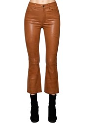 Frame Cropped Straight Leg Leather Pants Camel