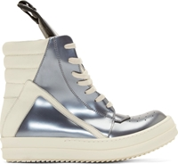 Rick Owens Silver Leather Geobasket High Top Sneakers