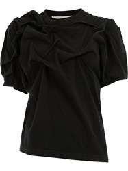 Aganovich Asymmetric Ruched T Shirt Black