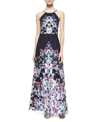 Phoebe Couture Halter Floral Print Pleated Gown