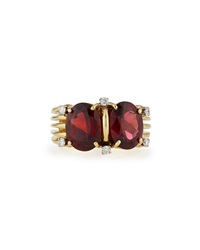 Lc Estate Jewelry Collection Estate Tiffany And Co. 18K Garnet And Diamond Ring