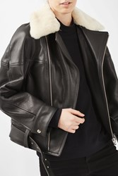 Topshop '80S Leather Aviator Jacket By Boutique Buttermilk