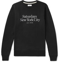 Saturdays Surf Nyc Bowery Miller Logo Embroidered Loopback Cotton Jersey Sweatshirt Black