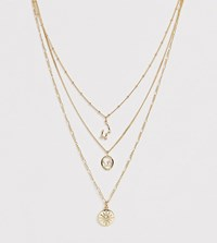 Reclaimed Vintage Inspired Constellation Star Multirow Necklace Gold