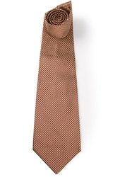Gianfranco Ferre Vintage Houndstooth Pattern Tie Brown