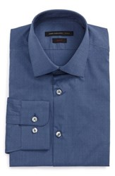 John Varvatos Men's Star Usa Slim Fit Stretch Dot Dress Shirt Atlantic Blue