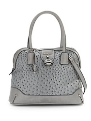 London Fog Lark Ostrich Embossed Faux Leather Dome Satchel Grey