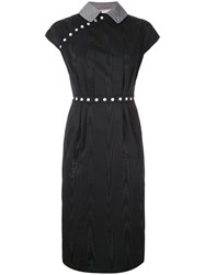 Olympia Le Tan Marnie Moire Dress Women Wool 38 Black