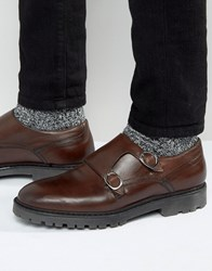 Asos Monk Shoe In Brown Leather Brown